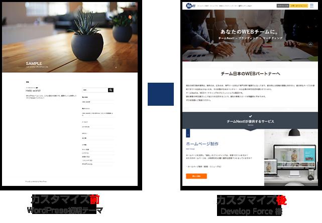 WordPressテーマカスタマイズ前と後の比較