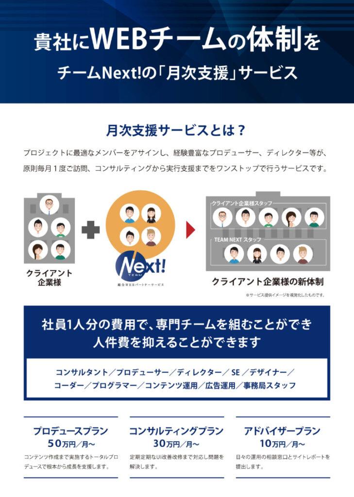 チームNext!のWebコンサルティングサービス「月次支援」