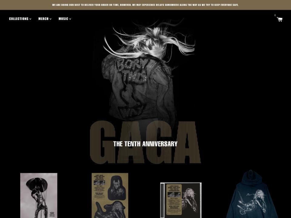 LADY GAGA レディガガのショッピングサイトはShopify制作されています。
