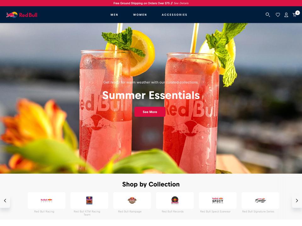 RedBull レッドブルのショッピングサイトはShopify制作されています。