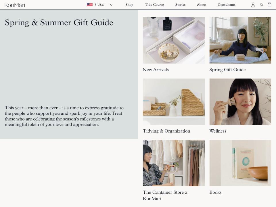 KonMari コンマリこと近藤麻理恵さん ネスレのショッピングサイトはShopify制作されています。