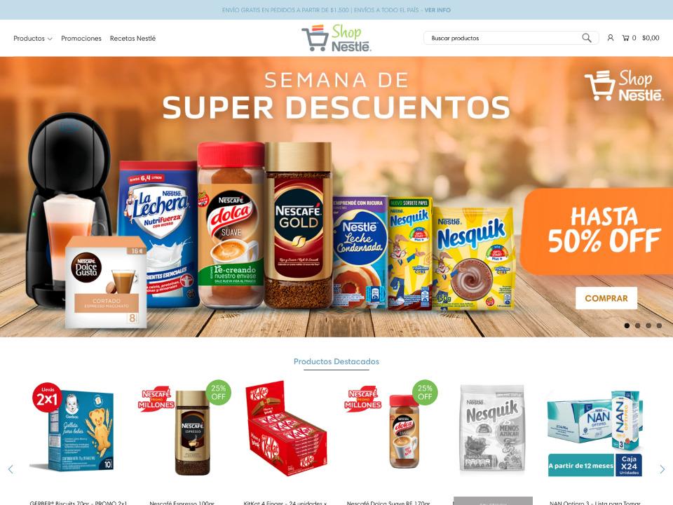 Nestle ネスレのショッピングサイトはShopify制作されています。